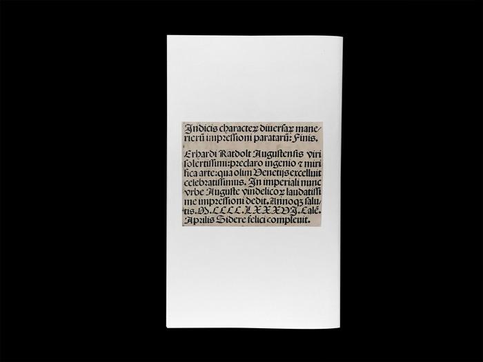 Erhard Ratdolt's Index characterum, the earliest known type specimen, Poem Pamphlet No.3 5