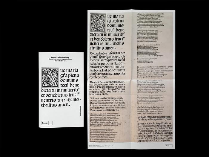 Erhard Ratdolt's Index characterum, the earliest known type specimen, Poem Pamphlet No.3 6