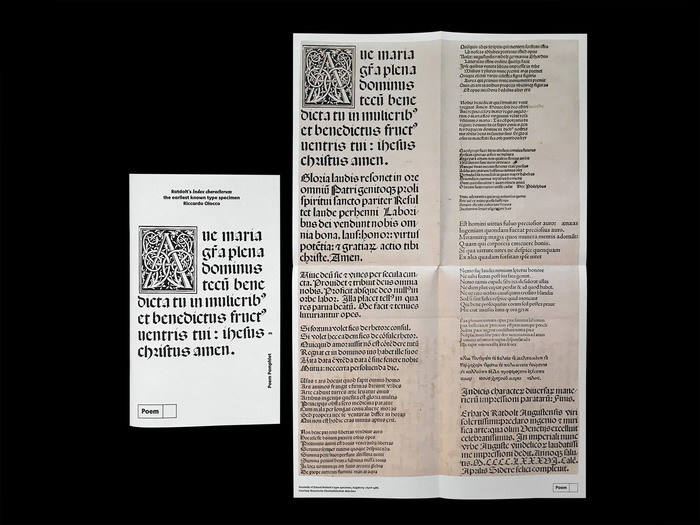Erhard Ratdolt's Index characterum, the earliest known type specimen, Poem Pamphlet No. 3 6