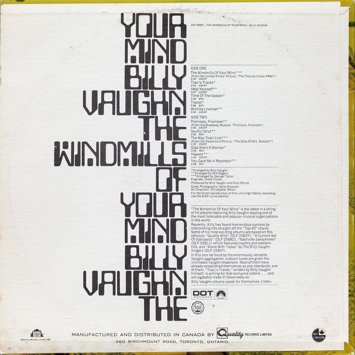 Back cover of Billy Vaughn's 1969 album, The Windmills of Your Mind. The track listing and credits are set in Trade Gothic, while the manufacturing and distribution text is set in Bank Gothic.