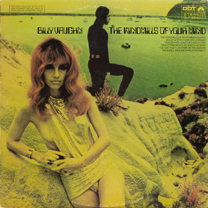 Front cover of Billy Vaughn's 1969 album, The Windmills of Your Mind. The track listing is set in all-caps Folio Light.