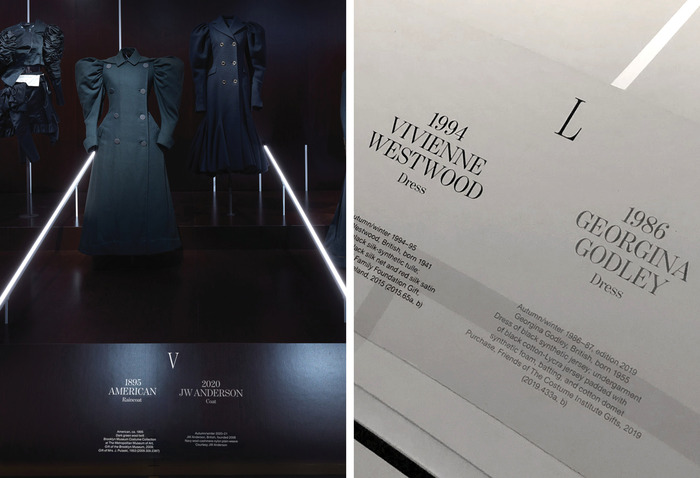 The Met design team enhanced the exhibition experience by using Roman numerals inspired by the classic clock face for each dress pairings as if the visitors are walking from one minute to another.