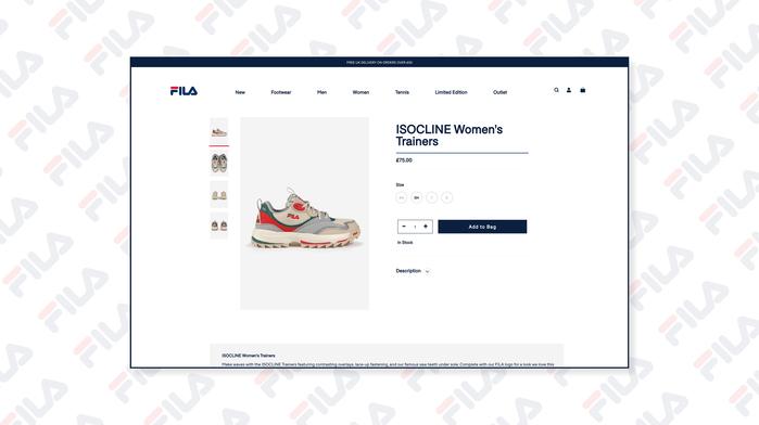 Fila UK website 2
