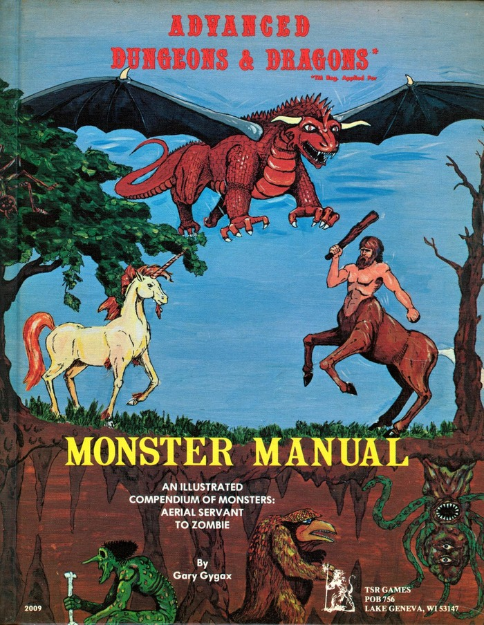 Cover of the first printing of the Monster Manual for Advanced Dungeons and Dragons, 1st edition, published by TSR Games in 1977. Cover design by David C. Sutherland III.