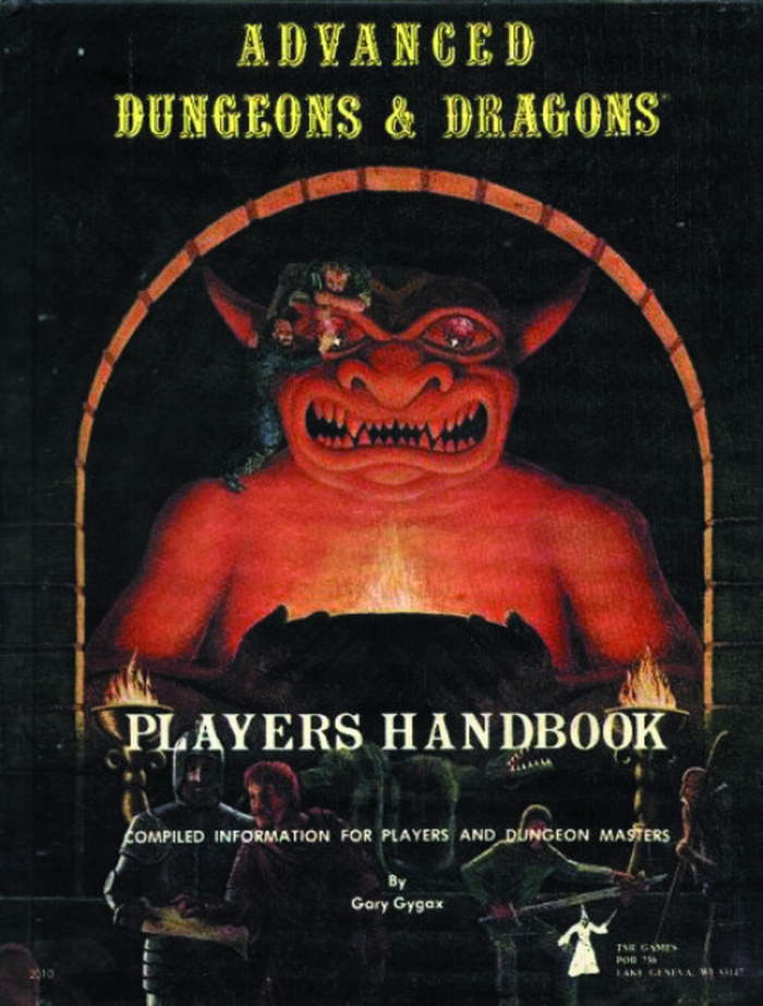 Cover for the first printing of the Players Handbook [sic] for Advanced Dungeons and Dragons, 1st edition, published by TSR Games in 1978. Cover design by David C. Sutherland III.