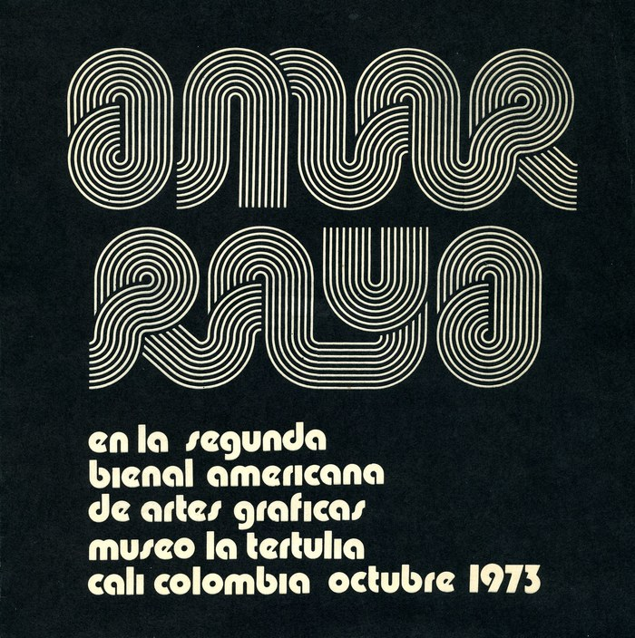 """Omar Rayo en la Segunda Bienal Americana de Artes Graficas / Museo La Terulia / Cali Colombia, Octubre 1973.""  (1973) is paired with  Bold (1970), which is used without i dots."