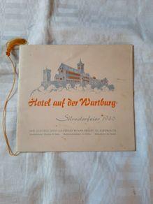 Hotel auf der Wartburg Silvesterfeier 1956 menu
