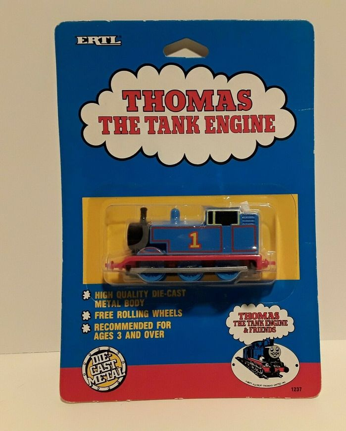 Thomas & Friends toy packaging from 1989, featuring the same logo in Beton.