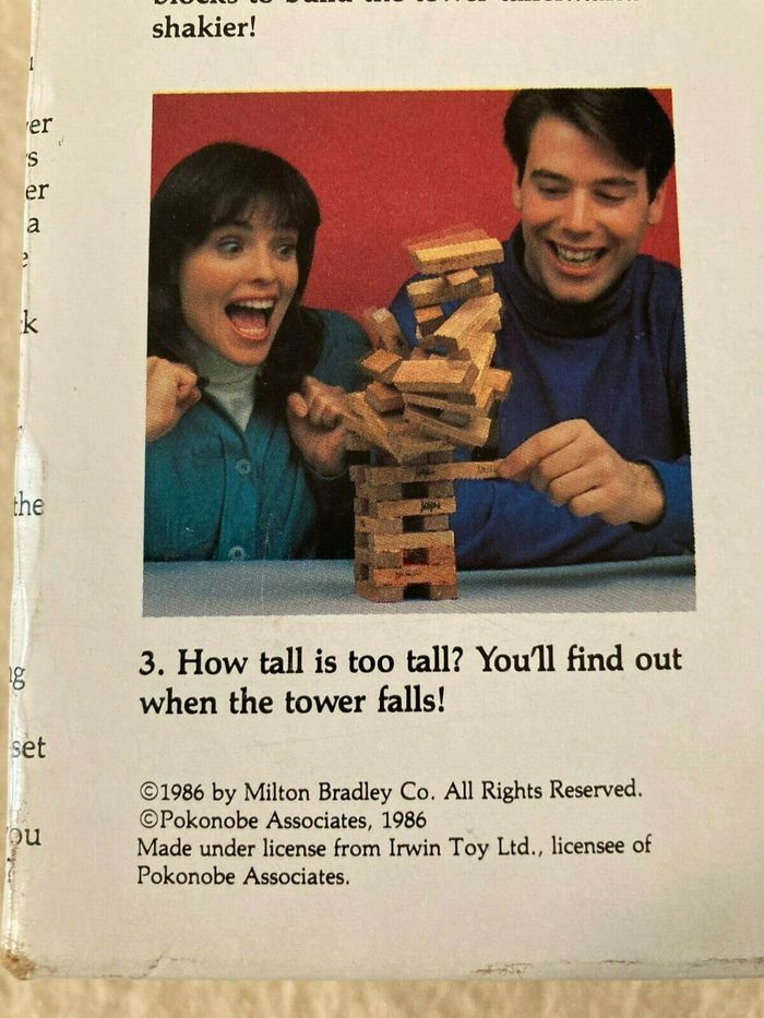 Jenga game packaging (1986) 4