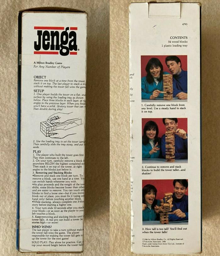 Jenga game packaging (1986) 2