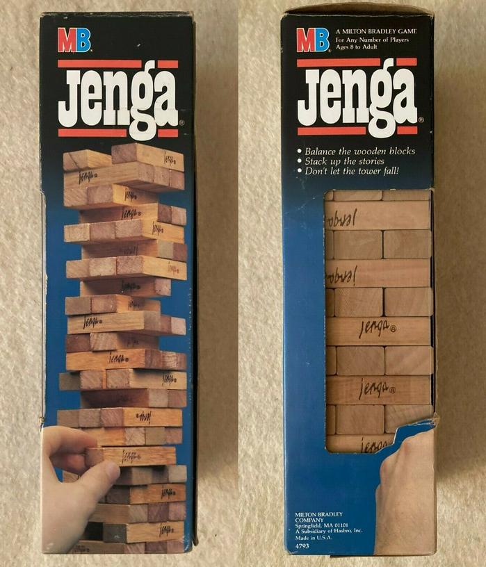 Jenga game packaging (1986) 1