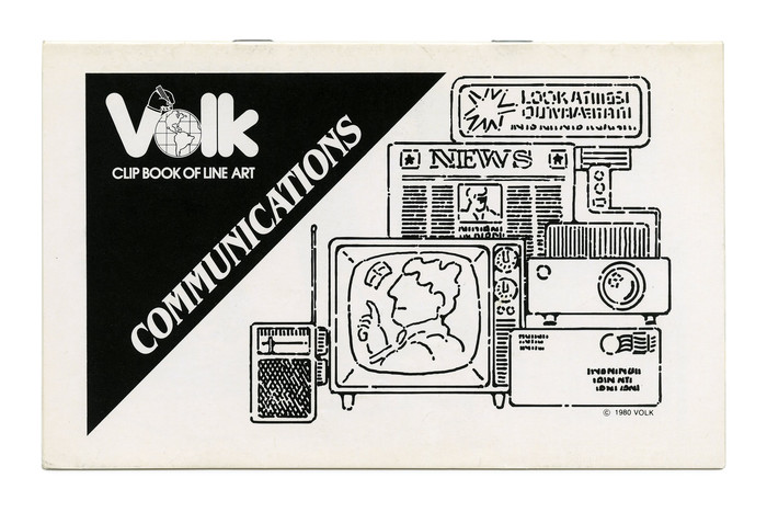 """Communications"" (No. 340) ft.  Bold Condensed Italic (1979) and the comeback of the landscape format which would become the standard in subsequent years. The Volk logo is now shown in reverse on a black triangle. ""Clip Book of Line Art"" is set in ."