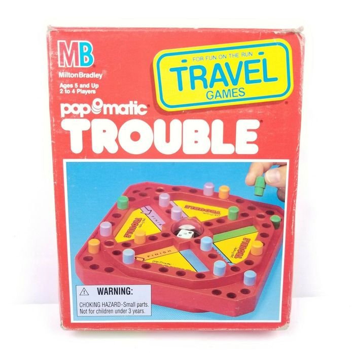 "The travel edition from 1989 shows the Trouble logo in unmodified , i.e. without contour. ""Travel Games"" appears to be in another rounded face from 1970, ."