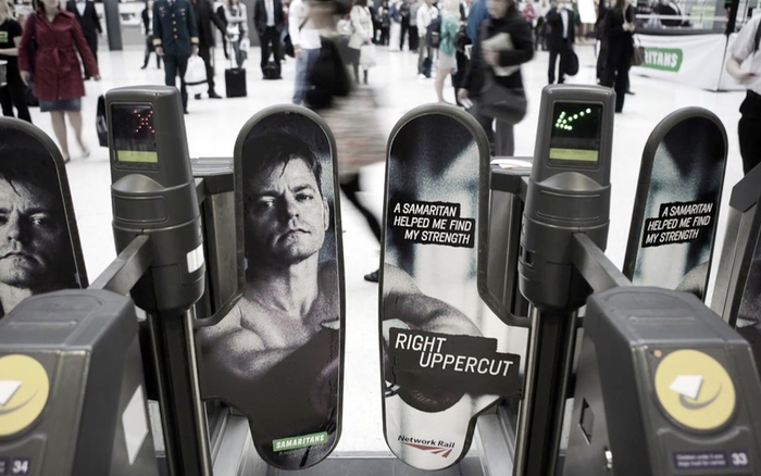 Campaign combating male suicide in London's Waterloo station, in partnership with Network Rail