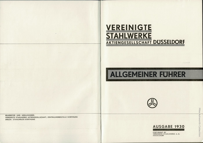 The title page is set entirely in caps from . The details where this typeface can easily be told from Futura include the M with a high center (there was an alternate with splayed legs, but still a high center), the G with a straight section at the bottom right, or the hook-shaped S.