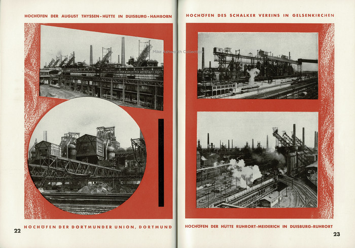 This double page spread shows a sample of the company's blast furnace sites; Hochöfen der August Thyssen-Hütte in Duisburg-Hamborn; Hochöfen des Schalker Vereins in Gelsenkirchen; Hochöfen der Dortmunder Union, Dortmund; Hochöfen der Hütte Ruhrort-Meiderich in Duisburg-Ruhrort. The red lines as well as the page numbers feature Futura. Note its compact uppercase umlauts.
