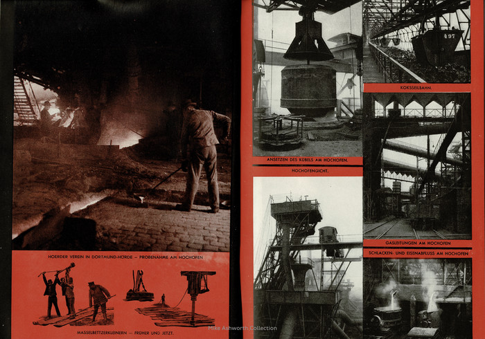"""Set against a striking red background these images show scenes within the blast furnace areas of the works; Hoerder Verein in Dortmund–Hörde – """"Probenahme am Hochofen"""" (Sampling at the blast furnace); """"Masselbettzerkleinern – früher und jetzt"""" (Crushing ingot beds – then and now); """"Ansetzen des Kübels am Hochofen"""" (Attaching the bucket to the blast furnace); """"Koksseilbahn"""" (Coke cable car); """"Hochofengicht"""" (Blast furnace gout); """"Gasleitungen am Hochofen"""" (Gas pipes at the blast furnace); """"Schlacken- und Eisenabfluss am Hochofen"""" (Slag and iron flow at the blast furnace).    For some reason, one of the seven captions is set in Berthold-Grotesk, while the others show Futura. Can you spot the odd one out?"""