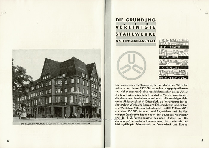 """The first pages of the guide have an image of the """"Das Hauptverwaltungsgebäude der Abteilung Bergbau in Essen"""" – main administration building of the mining department in Essen. The opposite page is well laid out with the company's logo and vignettes for the four main groups; Rheinelbe-Union, Thyssen-Gruppe, Phoenix-Gruppe, and the Rheinische Stahlwerke, featuring sans-serif lettering. The text describes the setting up of the VS in 1925/6, an attempt to bring consolidation within the vertically structured industries at a time of considerable political and financial turmoil. It's set in Berthold-Grotesk. Heading and caption show two weights of Futura."""