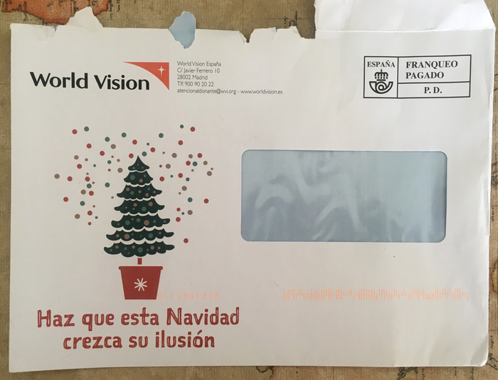 Christmas direct mail by World Vision 1
