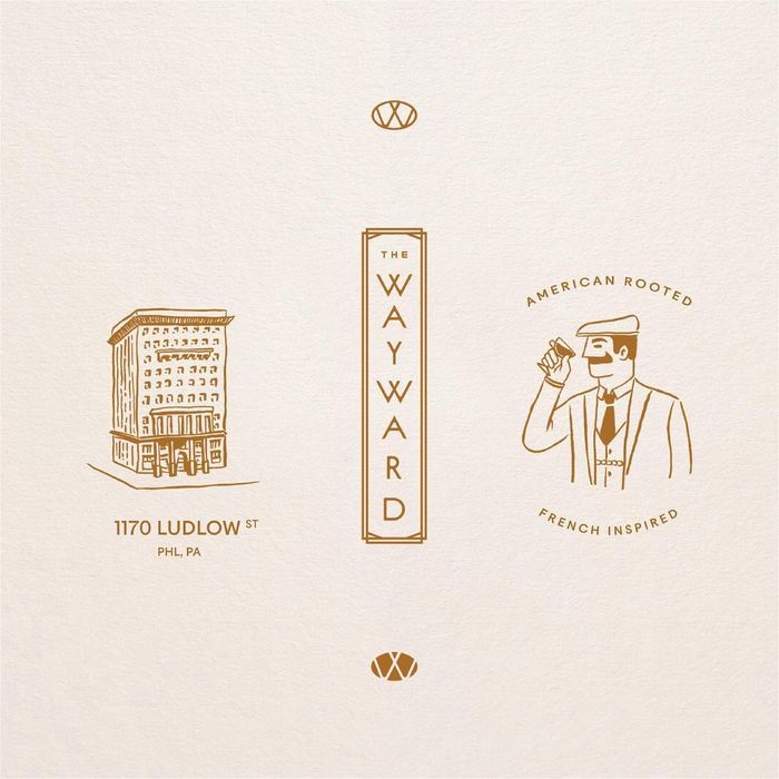 "Brand elements featuring an illustration of the building, the sign with the vertical logo variant, and the brand character named Mr. Wayward, ""a dapper man with a penchant for hard work and craftsmanship"". It was drawn by illustrator Kelly Gillin-Schwartz."