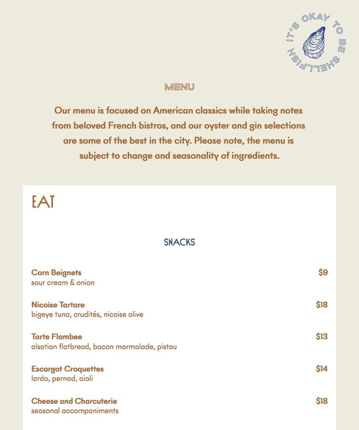 Detail from the menu on the website, with Sud and the outlined caps from Altero's lowercase for headings. Text is rendered in two weights from NewPanam.
