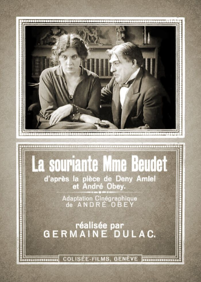 The film poster combines a still image featuring the two main actors,  Germaine Dermoz as Madame Beudet and Alexandre Arquillière as Monsieur Beudet, and a text card in the same typography as the titles.