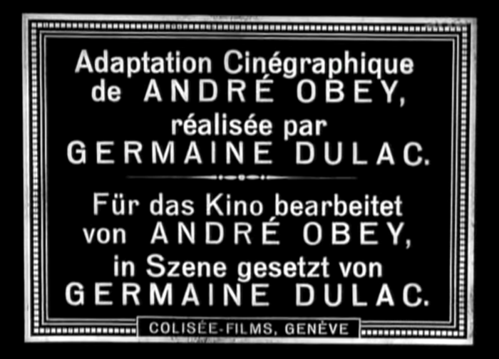 The names of Germaine Dulac and André Obey are emphasized by the use of letterspaced uppercase letters.