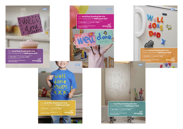 A set of Smokefree leaflets, each Health Authority produced their own designs