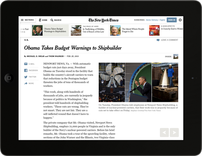 The New York Times Article Redesign (May 2013) 4