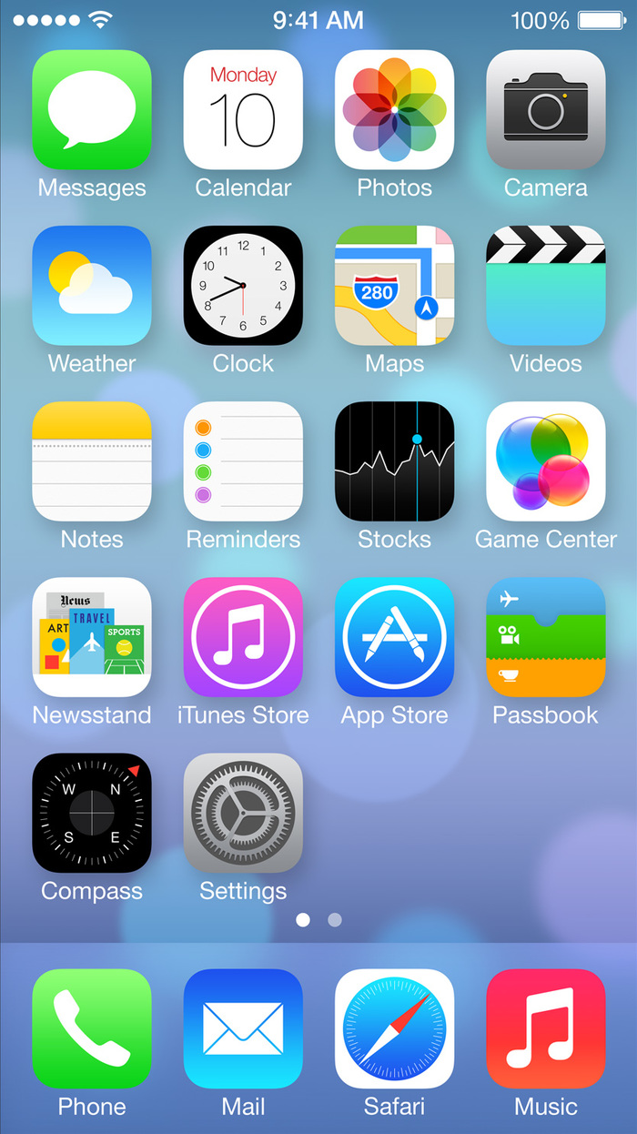 Other than the Calendar, Clock, and Maps apps, Newsstand is the only icon with type and a consipucuous showcase of multiple typefaces.