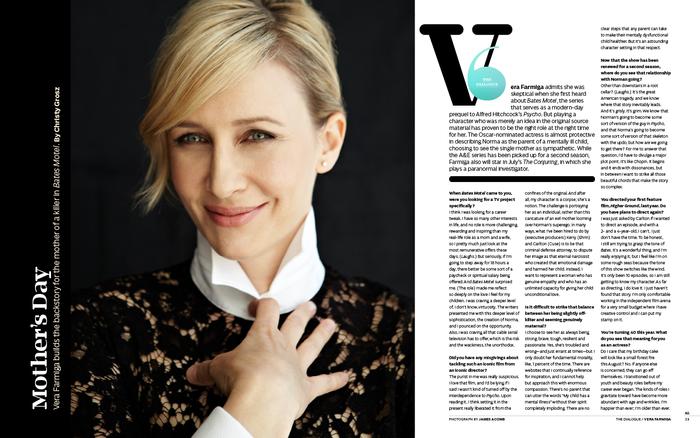 Vera Farmiga Q&A.Dropcap set in Audree D5