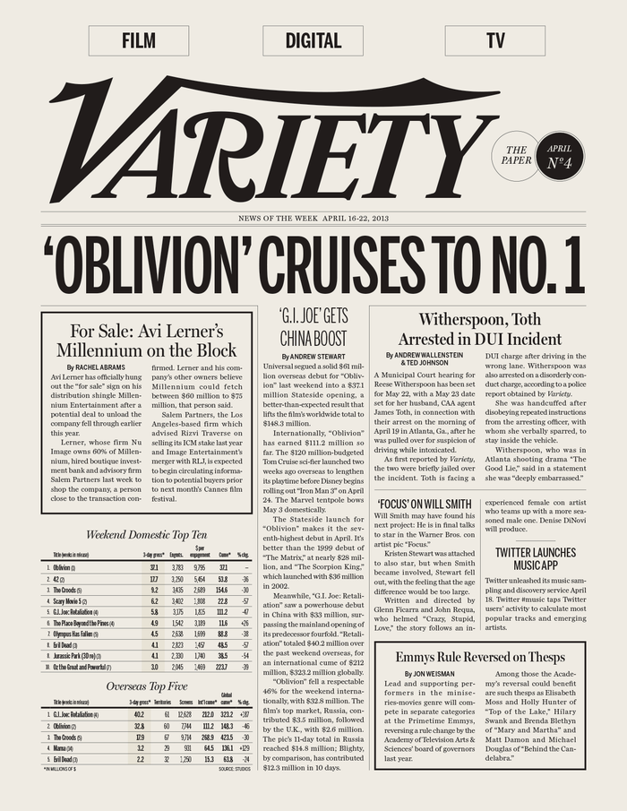The Paper: a weekly roundup of news (the only page using Benton Sans).