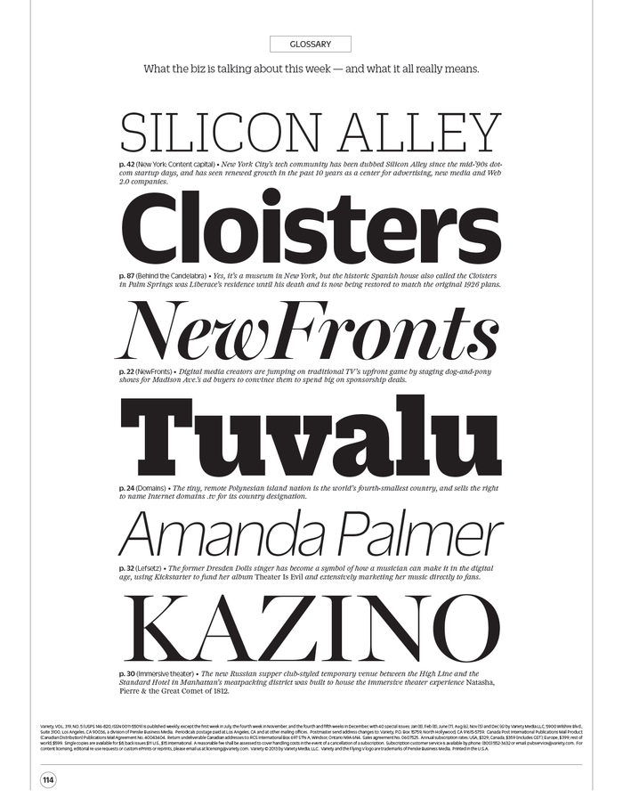 Glossary (Back Page), set in the style of a type specimen.