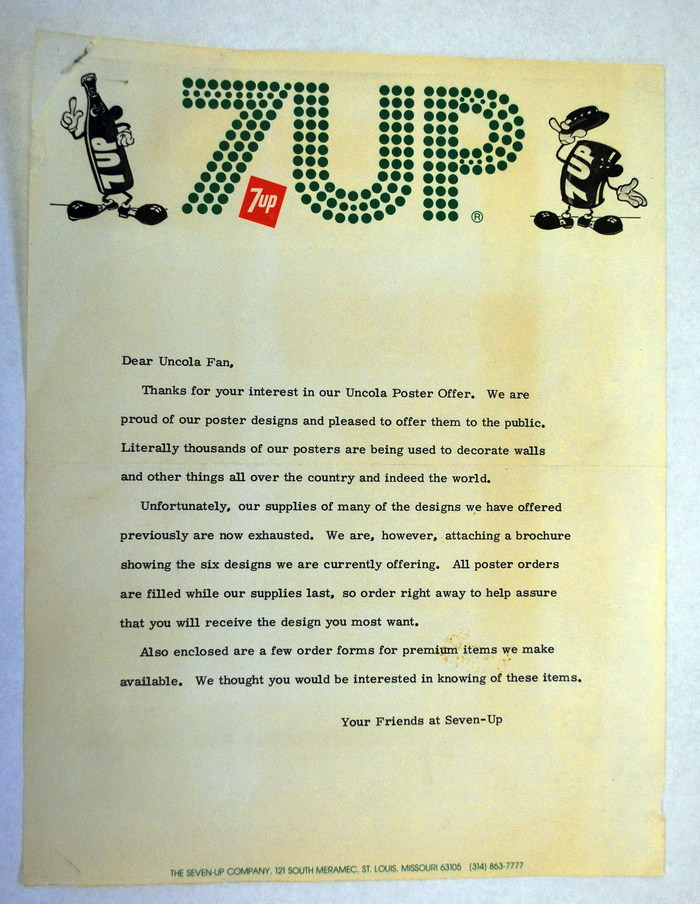 "7 Up letterhead with response to a request for the 1977 ""Uncola Poster Offer"" featuring designs from prominent artists like John Alcorn, Pat Dypold, Kim Whitesides, Milton Glaser, and Charles White, III."