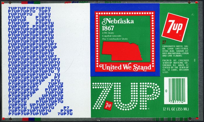 A 7Up can from 1976. Some sources say this logo was used on cans from 1972–76, others dispute that.