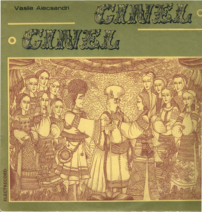 Cinel Cinel (1976). According to the blog by Biblioteca Naţională a Republicii Moldova, this record was released in 1984. This date probably refers to a reissue, as Dimitrie Sbiera emigrated to France in 1977. The secondary typeface is .