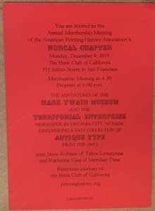American Printing History Association Membership Meeting 2019 invitation