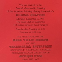 American Printing History Association Membership Meeting 2019 invitation