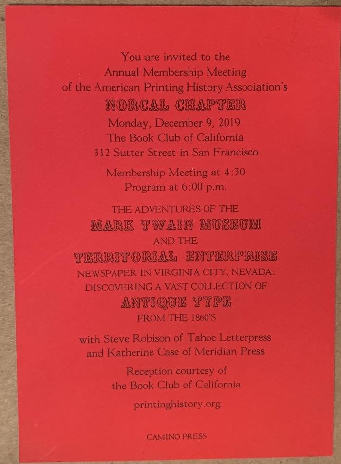 American Printing History Association Membership Meeting 2019 invitation 1