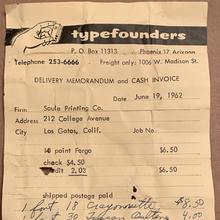 Typefounders of Phoenix invoice (1962)
