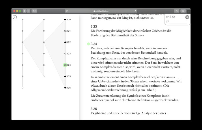All of the pages can be switched back and forth between the original German and an English translation