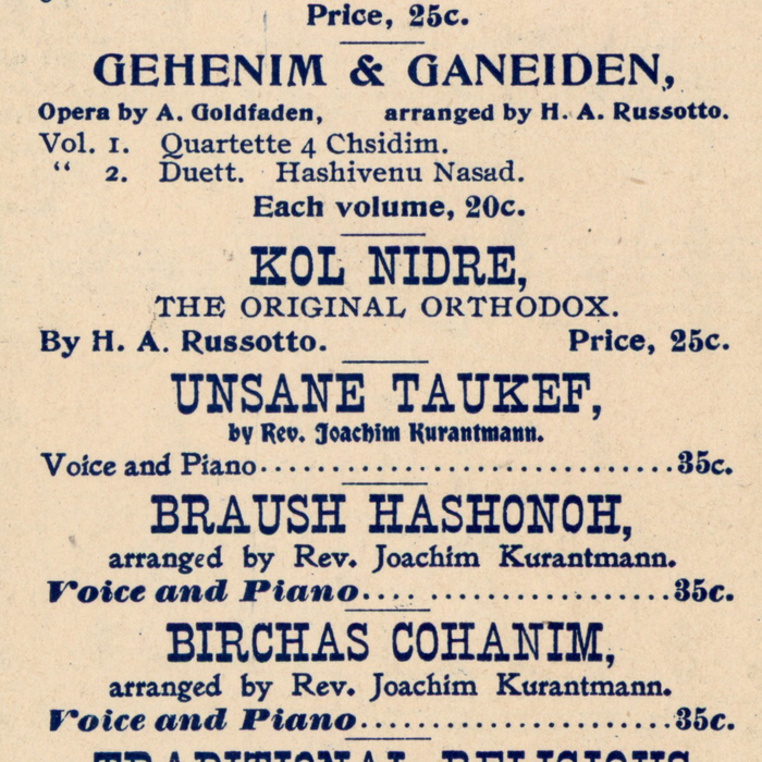 """Detail ft.  (""""Kol Nidre""""),  (""""arranged by""""), and  (""""Voice and Piano"""")."""