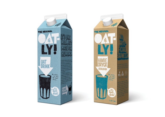 Oatly packaging in 2015 as the company updated its identity.