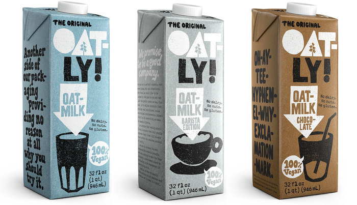 Oatly packaging for the US market in 2020.