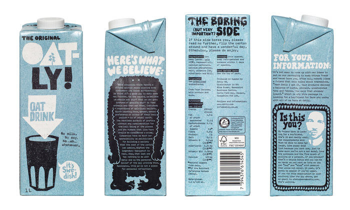 Oatly UK packaging in 2016, shortly after the company updated its identity.
