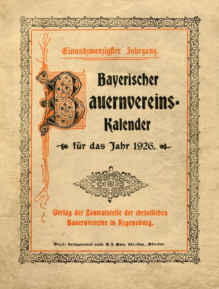 Bayerischer Bauernvereins-Kalender für das Jahr 1926 (volume 21).