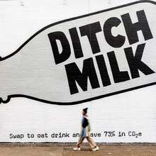 "Oatly ""Ditch Milk"" mural ad"
