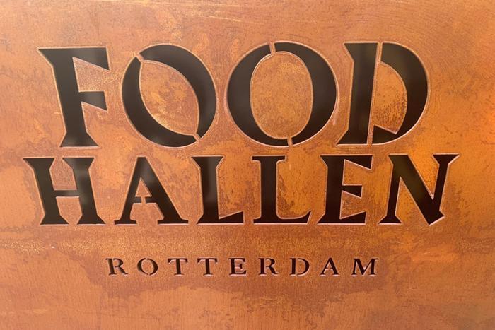 Foodhallen stencilled logotype in Rotterdam.