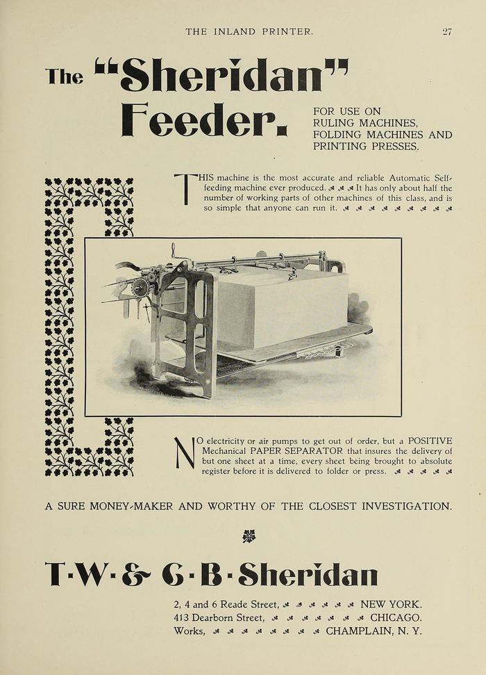 "The ""Sheridan"" Feeder ad"