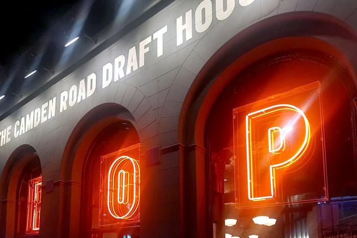 Draft House Camden, Neon type animates between HOP, BOP and POP